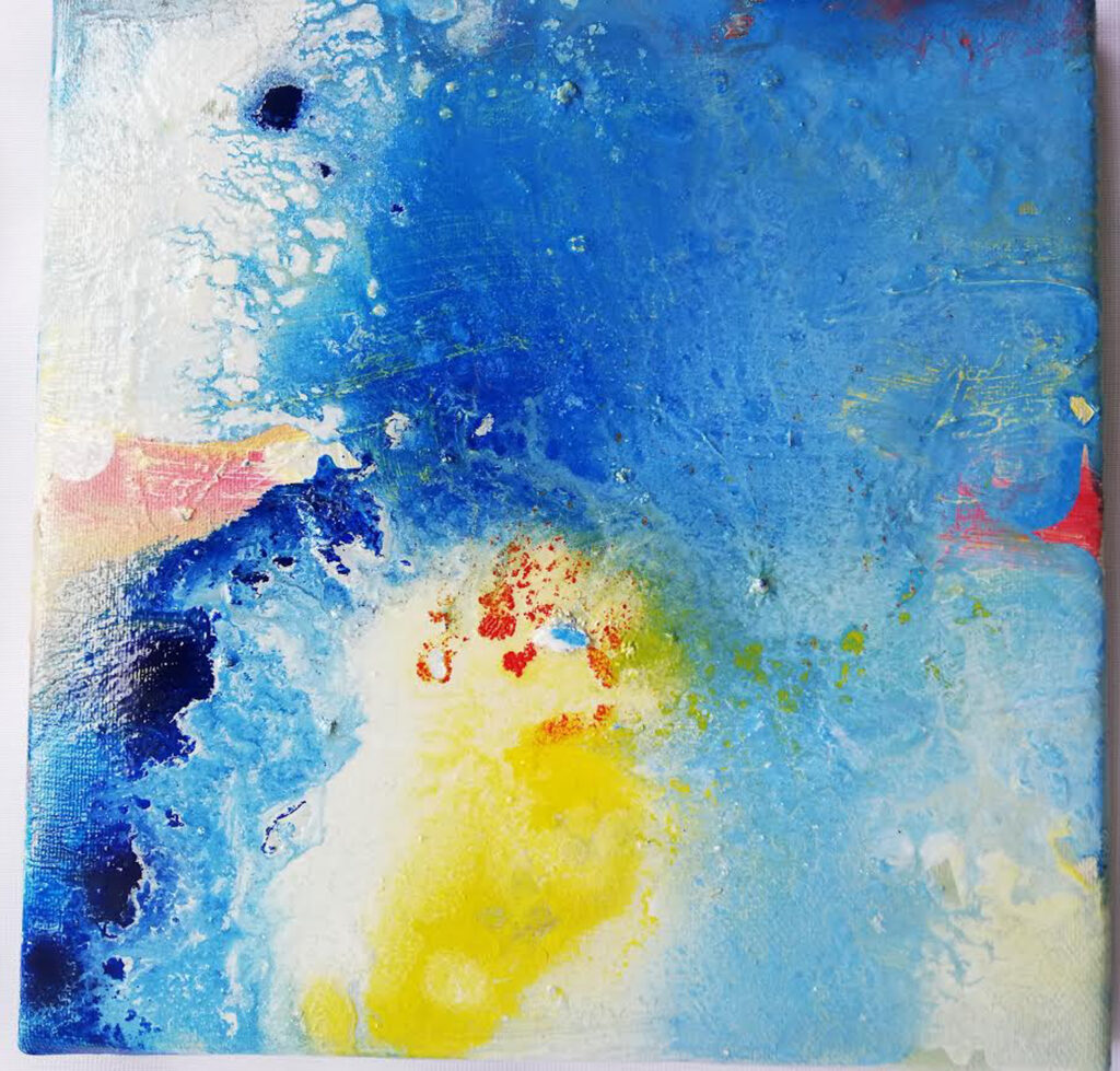 Blue heaven in a blue univers. Painting by artist Bente Elisabeth